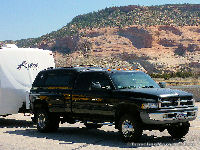 Our rig on I40 in the red rock area of Arizona.