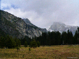 Half Dome Rock as seen from Yosemite Meadows