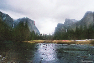 Merced River, El Capitan, Bridal Veil Falls in Yosemite NP.