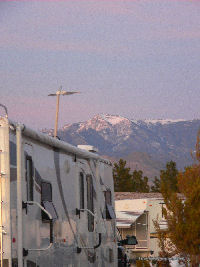 Our rig with a view of Mt Charleston, Parhump NV.