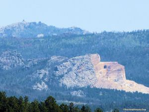 Crazy Horse from Lightning Creek Road with Harney Peak behind.