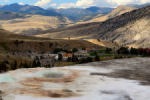 Top of Mammoth Hot Springs, looking down at the 'town'.